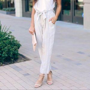 Tan & White Striped Paper Bag Waist Pant